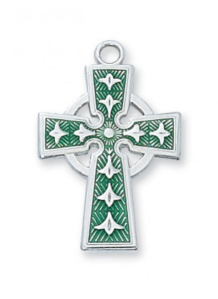 "Green Celtic Cross SS 7/8"" - St. Benedict's Catholic Store"