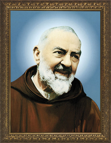 St Padre Pio 8 x10 Gold Frame - St. Benedict's Catholic Store