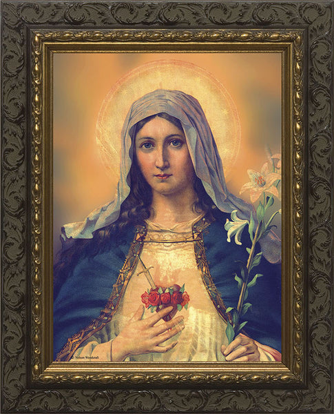 Immaculate Heart of Mary 9x12 Dark Ornate Frame - St. Benedict's Catholic Store