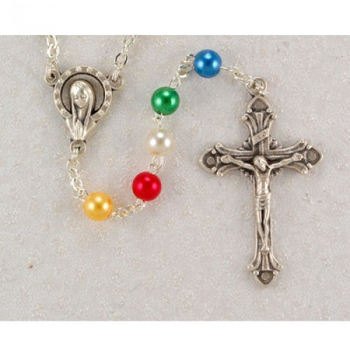 5mm Pearl Mission Rosary - St. Benedict's Catholic Store