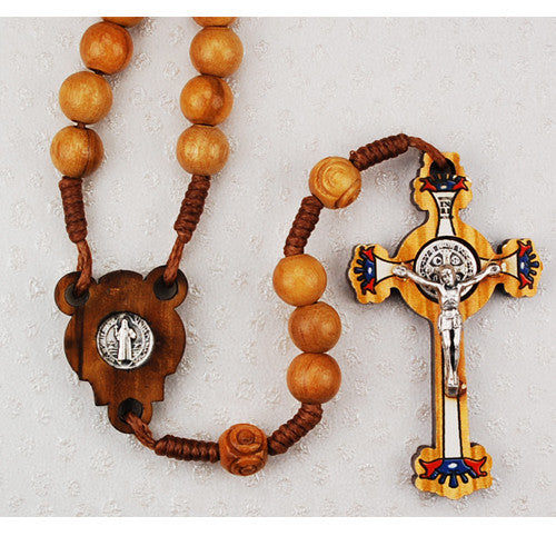 Olive Wood St. Benedict Rosary 7mm - St. Benedict's Catholic Store