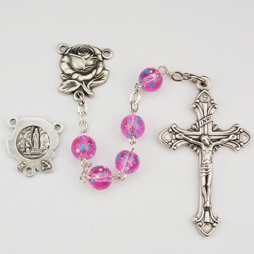 6mm Pink Speckled Rosary - St. Benedict's Catholic Store