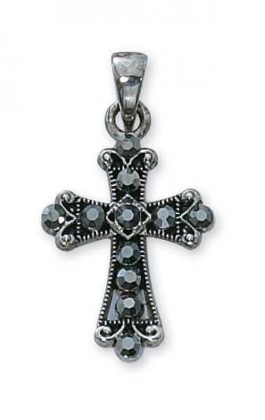 Black Crystal Cross Boxed - St. Benedict's Catholic Store