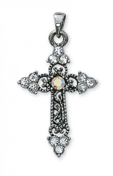 Rhinestone Cross Necklace P53 - St. Benedict's Catholic Store