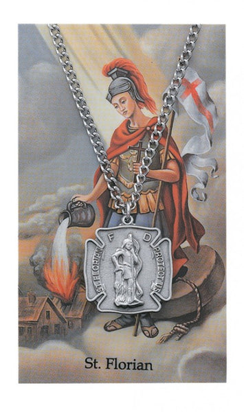 St Florian Card Medal - St. Benedict's Catholic Store