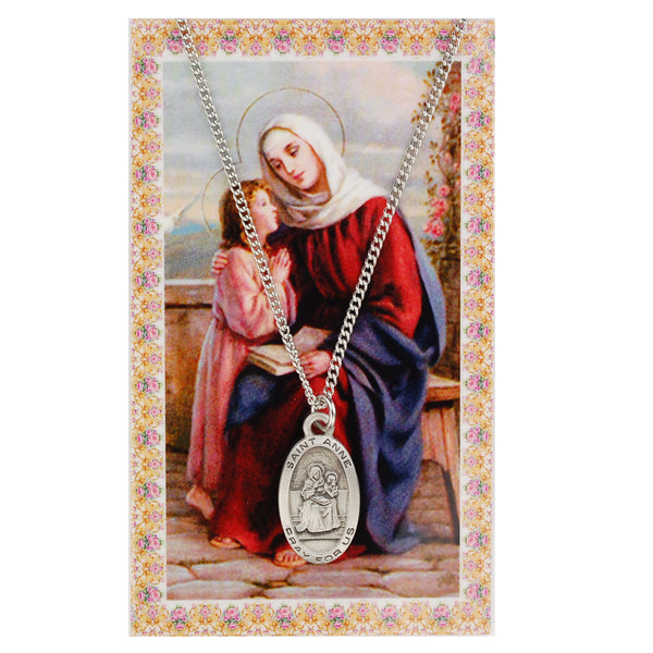 St Anne Card Medal - St. Benedict's Catholic Store