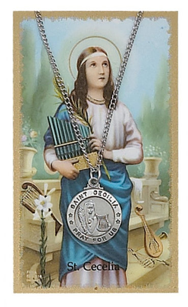 St Cecilia Card Medal - St. Benedict's Catholic Store