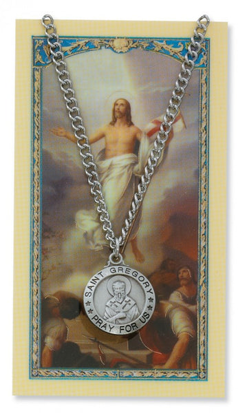 St Gregory Card Medal - St. Benedict's Catholic Store