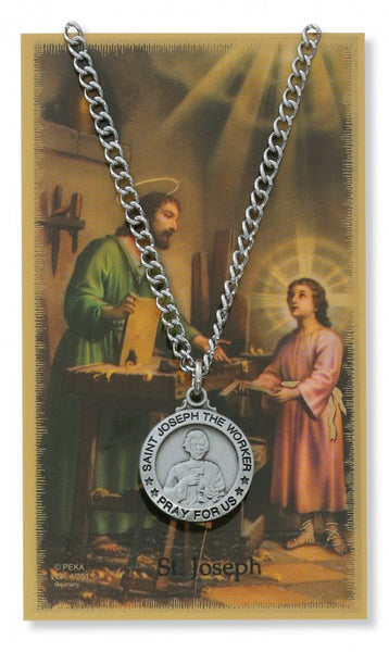 St Joseph the Worker Card Medal - St. Benedict's Catholic Store