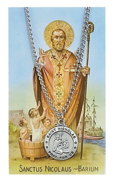 St Nicholas Card Medal - St. Benedict's Catholic Store