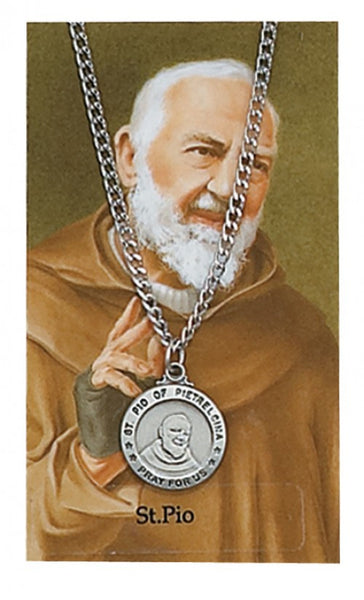 St Pio Card Medal - St. Benedict's Catholic Store