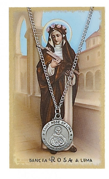 St Rose Lima Card Medal - St. Benedict's Catholic Store