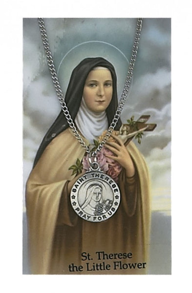 St Therese Card Medal - St. Benedict's Catholic Store