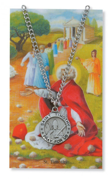 St Timothy Card Medal - St. Benedict's Catholic Store