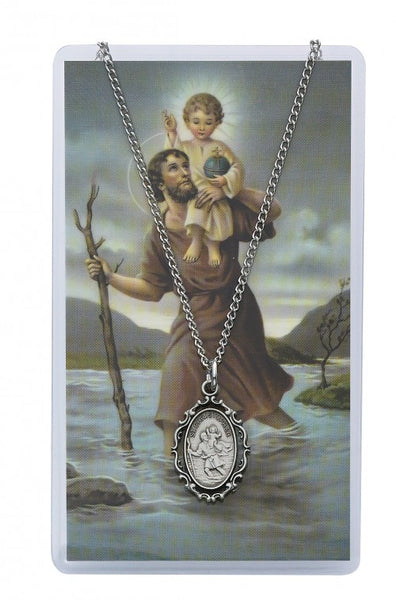 St Christopher Medal Prayer Card - St. Benedict's Catholic Store