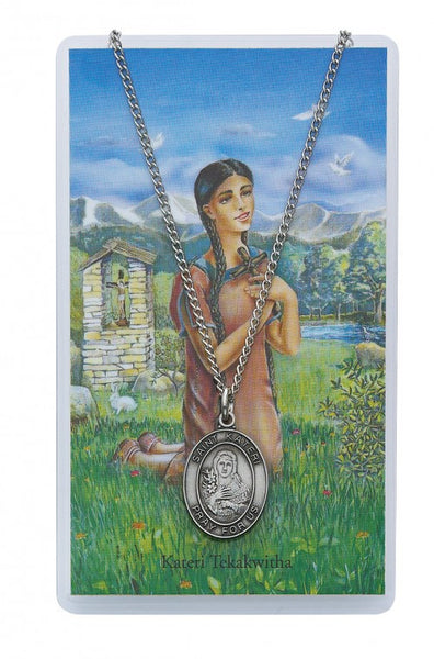 St Kateri Medal & Prayer Card