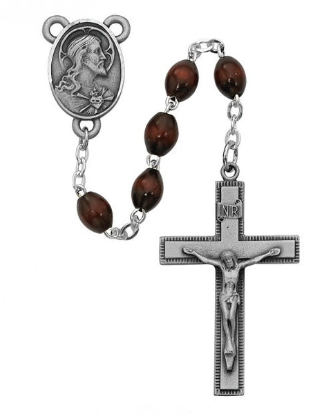 Brown Wood Rosary 4x6mm - St. Benedict's Catholic Store