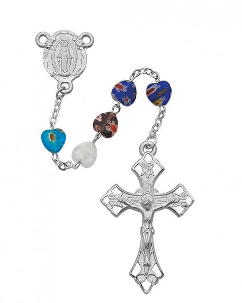 8x8mm Multi Murano Heart Rosary - St. Benedict's Catholic Store