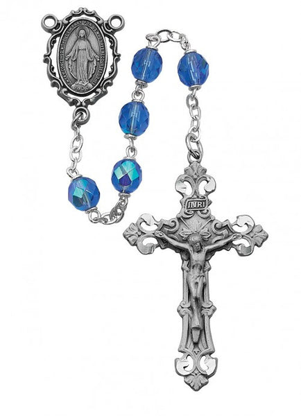 Pewter Blue Glass Rosary 7mm - St. Benedict's Catholic Store