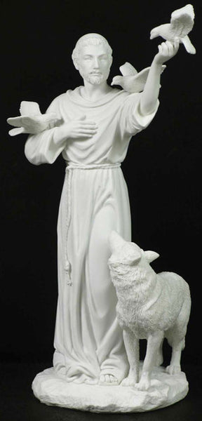 "St Francis w/Animals Veronese 11"" White Resin - St. Benedict's Catholic Store"