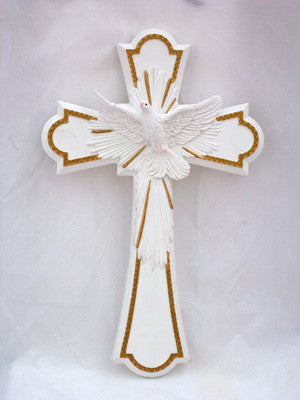 "Holy Spirit Cross Painted Pastels 8"" - St. Benedict's Catholic Store"