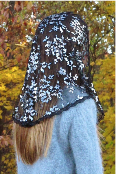 Black & Silver Metallic Chantilly Lace Mantilla Veil