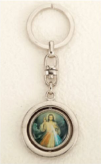 Divine Mercy St Faustina Rotating Keychain