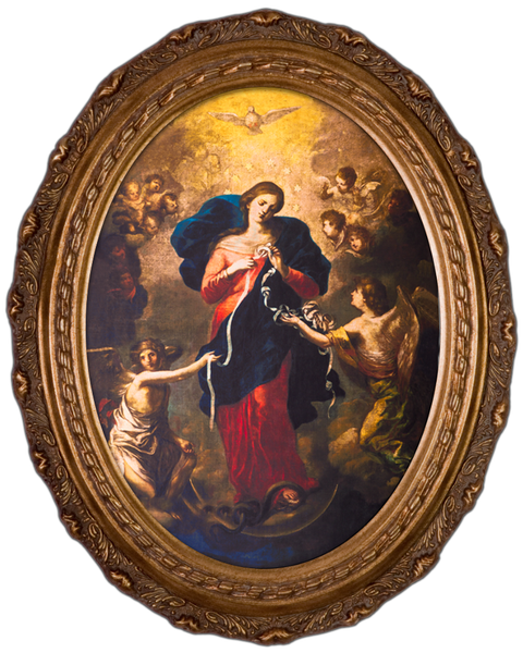 Mary Undoer of Knots 8x10 Canvas Oval Frame - St. Benedict's Catholic Store