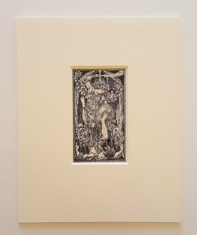 """St. Michael Defeats Lucifer"" Iron Gall Ink Print Matted 8 x 10"""