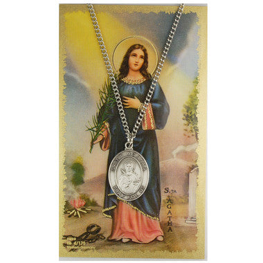 St. Agatha Card Medal - St. Benedict's Catholic Store