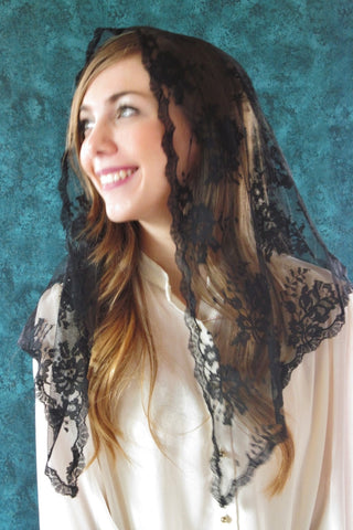 Long Black Chantilly Lace Mantilla Veil - St. Benedict's Catholic Store