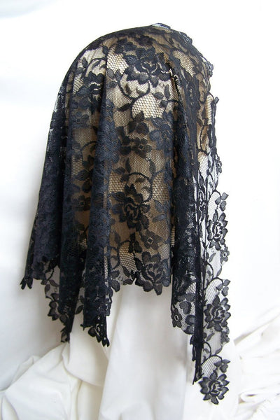 Black Floral Lace Mantilla Veil with Longer Sides - St. Benedict's Catholic Store