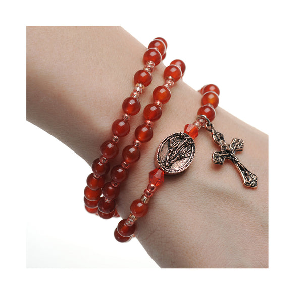 Red Agate Twistable Rosary Bracelet - St. Benedict's Catholic Store