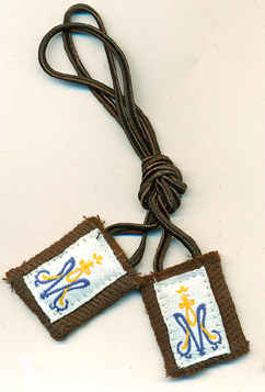 Children's Small Scapular with Brown Cord - St. Benedict's Catholic Store