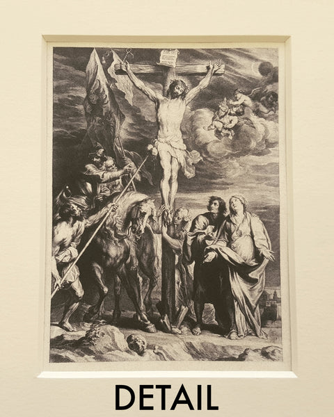 """The Crucifixion"" Iron Gall Ink Print Matted 8 x 10"""