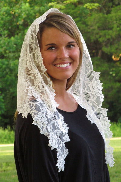 Floral Lace Mantilla Veil Longer Sides White Veil Mantilla - St. Benedict's Catholic Store