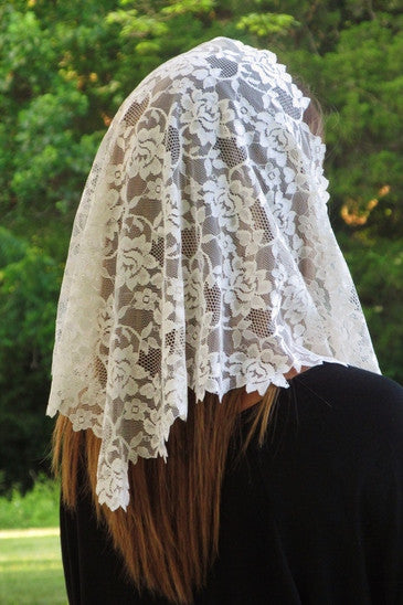 Floral Lace with Longer Sides Navy Veil Mantilla - St. Benedict's Catholic Store