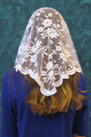 Medium Soft Tulle Triangle White Mantilla Veil - St. Benedict's Catholic Store