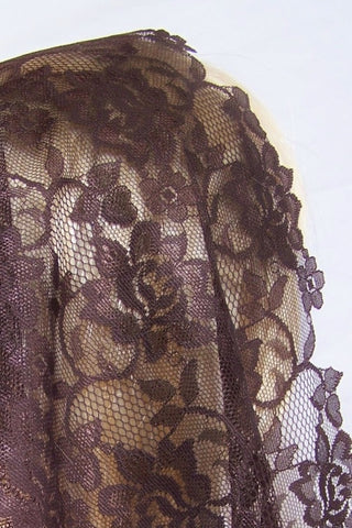 Floral Lace with Longer Sides Merlot Veil Mantilla - St. Benedict's Catholic Store