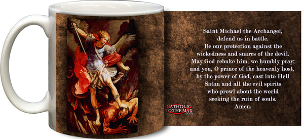 St Michael Mug w/Prayer - St. Benedict's Catholic Store