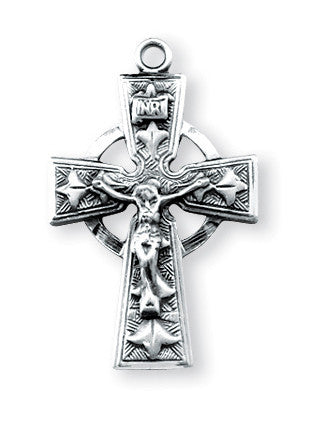 "SS Medium Celtic Crucifix 18"" - St. Benedict's Catholic Store"