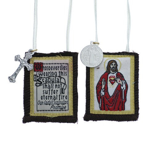 Sacred Heart of Jesus with White Cord Scapular - St. Benedict's Catholic Store