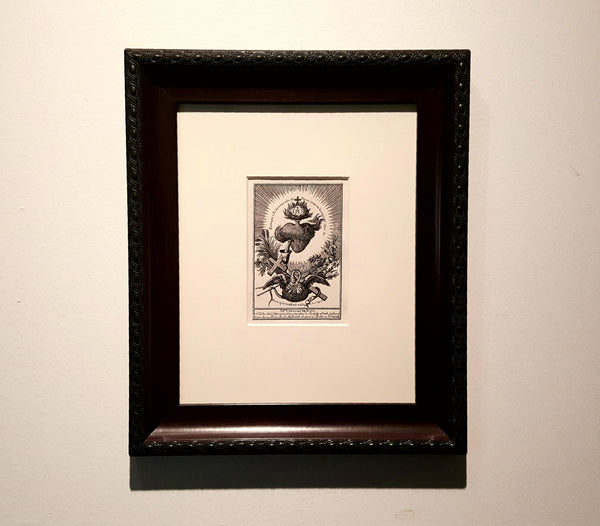 """Sacred Heart"" Iron Gall Ink Print Matted 8 x 10"" w/Black Wide Scooped Frame"