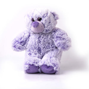 12 inch lavender colored bear, stuffed with polyester and lavender buds