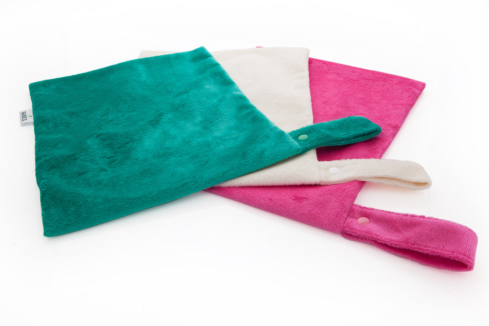 Large Minky Wet-bags mixed - Turquoise, Lily White, Raspberry