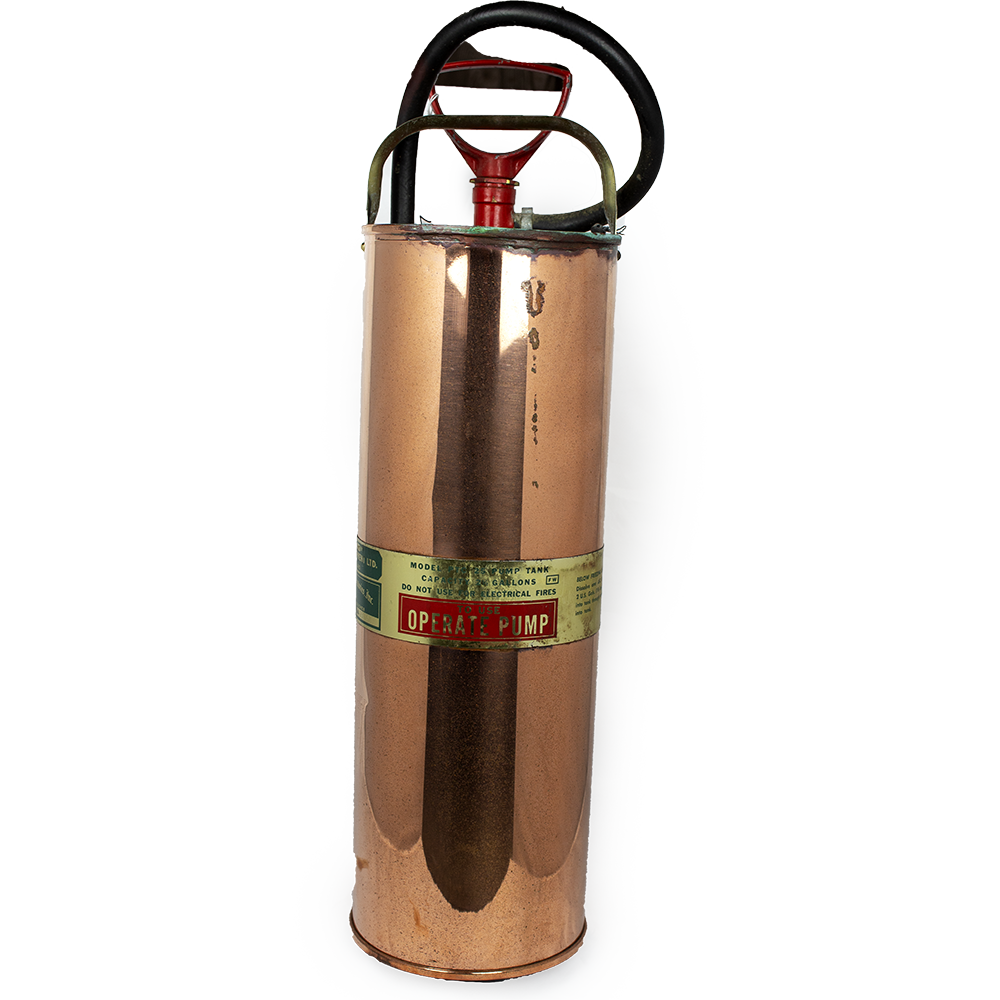 Large copper fire extinguisher