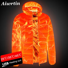 Load image into Gallery viewer, 2020 NEW Men Heated Jackets Outdoor Coat USB Electric Battery Long Sleeves Heating Hooded Jackets Warm Winter Thermal Clothing