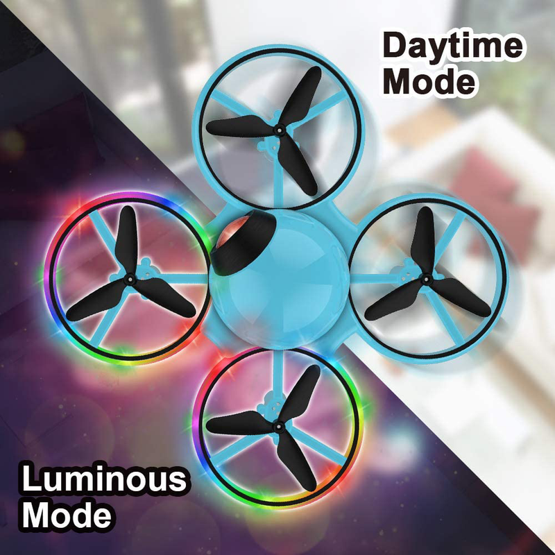 Blue Dwi Dowellin 10 Minutes Long Flight Time Mini Drone for Kids with Blinking Light One Key Take Off Spin Crash Proof RC Nano Quadcopter Toys Drones for Beginners Boys and Girls with Carrying Case