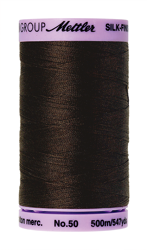 Mettler Silk Finish Cotton 50 547 Yds Color 9104-1002 Very Dark Brown