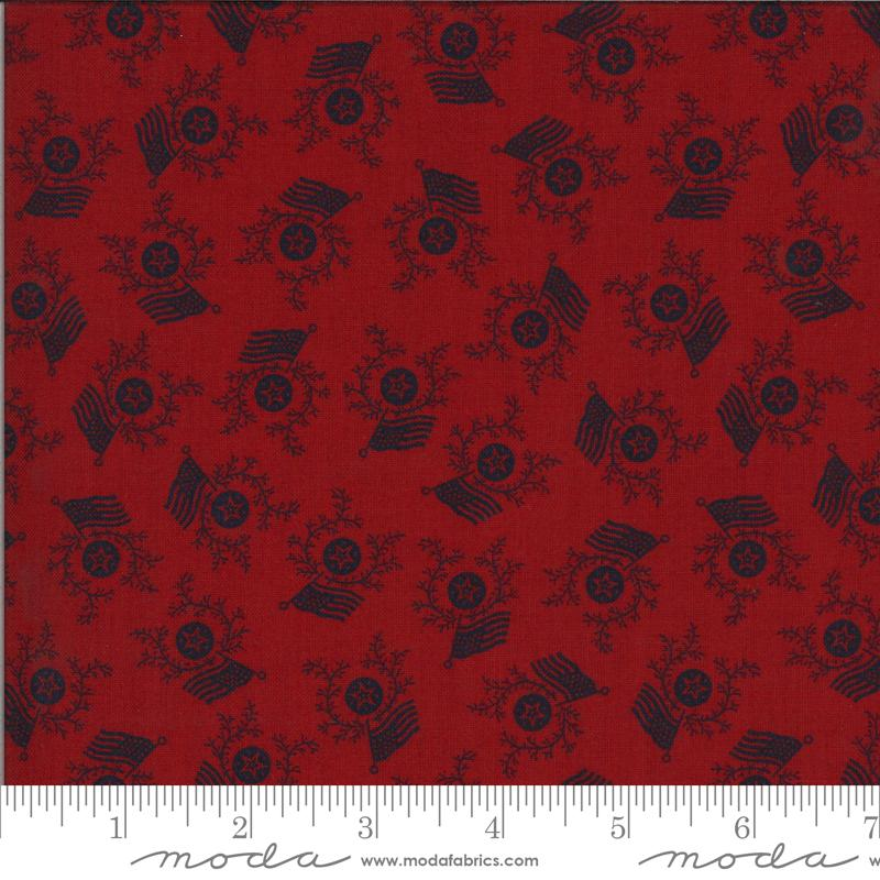 Moda Fabrics American Gathering by Primitive Gatherings Flag Day 49125 14 Red Navy